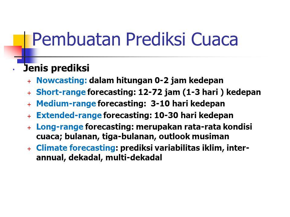 Pembuatan Prediksi Cuaca • Jenis prediksi  Nowcasting: dalam hitungan 0-2 jam kedepan  Short-range forecasting: 12-72 jam (1-3 hari ) kedepan  Medi