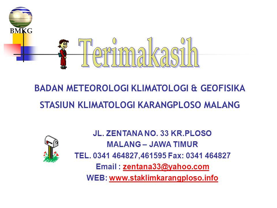 BADAN METEOROLOGI KLIMATOLOGI & GEOFISIKA STASIUN KLIMATOLOGI KARANGPLOSO MALANG JL. ZENTANA NO. 33 KR.PLOSO MALANG – JAWA TIMUR TEL. 0341 464827,4615