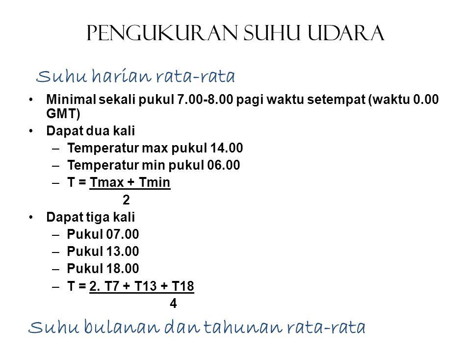 Pengukuran Suhu Udara •Minimal sekali pukul 7.00-8.00 pagi waktu setempat (waktu 0.00 GMT) •Dapat dua kali –Temperatur max pukul 14.00 –Temperatur min
