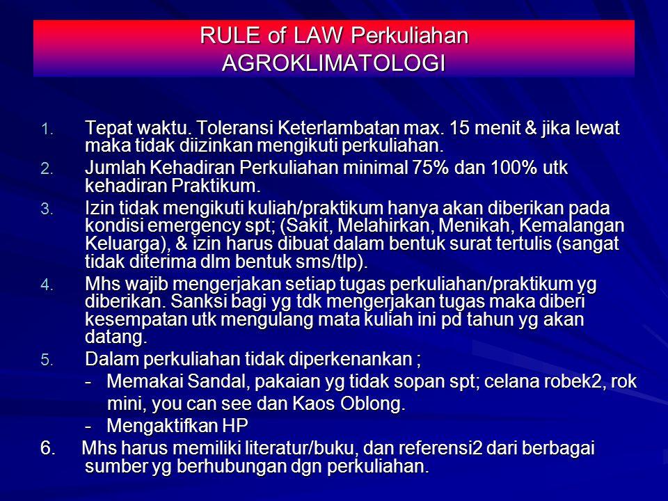 RULE of LAW Perkuliahan AGROKLIMATOLOGI 1.Tepat waktu.