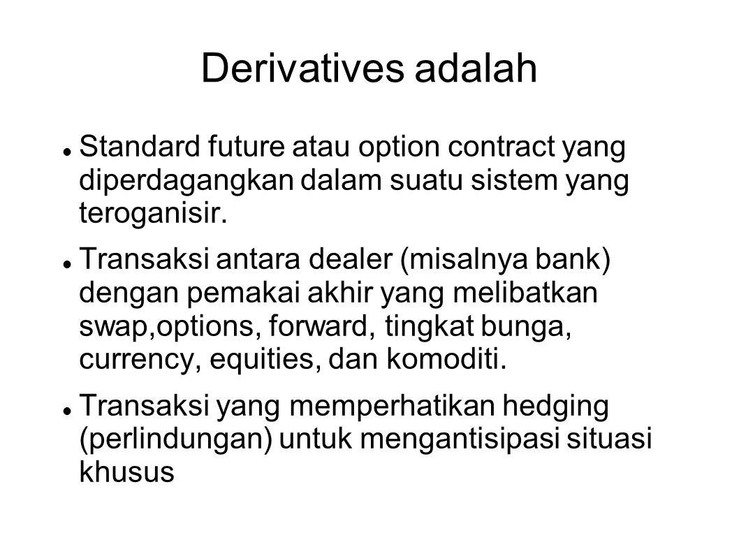 Derivatives adalah  Standard future atau option contract yang diperdagangkan dalam suatu sistem yang teroganisir.  Transaksi antara dealer (misalnya