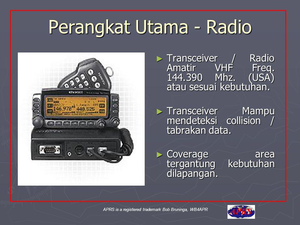 APRS is a registered trademark Bob Bruninga, WB4APR Perangkat Utama - Radio ► Transceiver / Radio Amatir VHF Freq. 144.390 Mhz. (USA) atau sesuai kebu