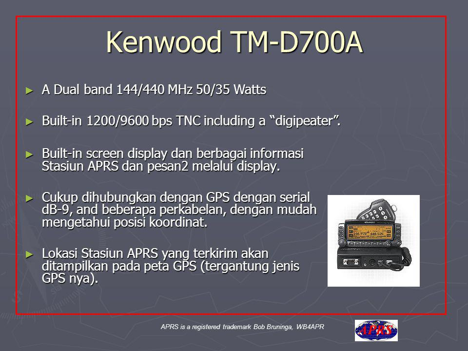 APRS is a registered trademark Bob Bruninga, WB4APR Kenwood TM-D700A ► Built-in screen display dan berbagai informasi Stasiun APRS dan pesan2 melalui display.