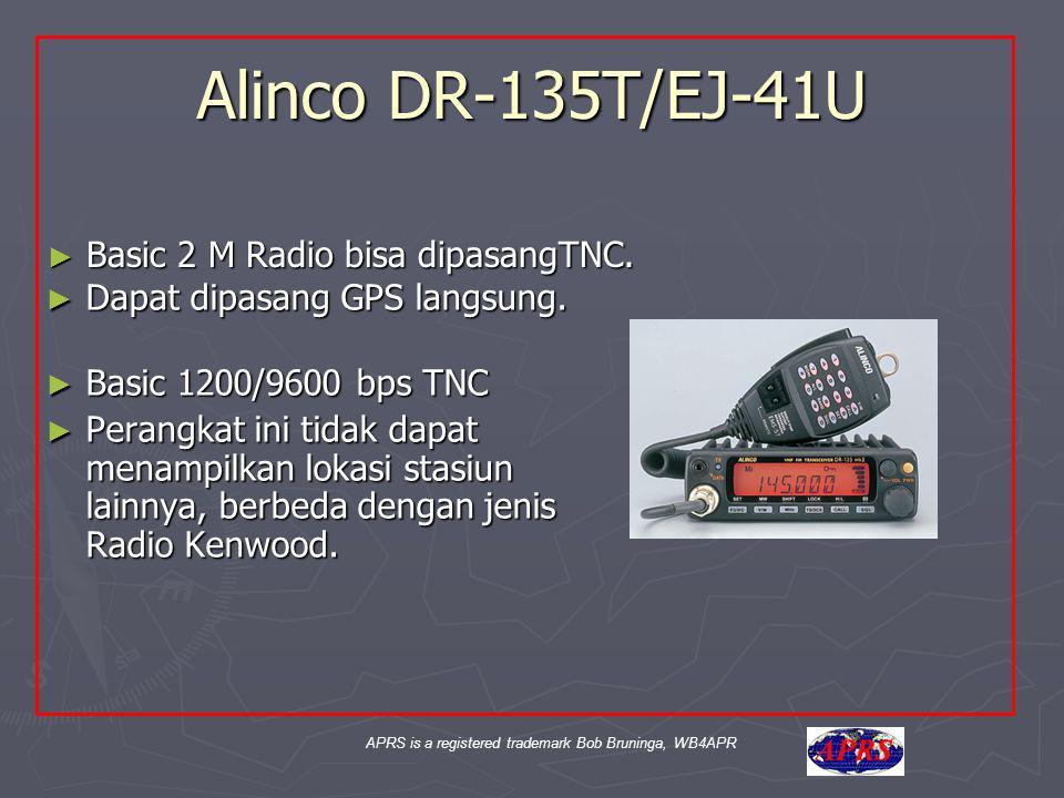 APRS is a registered trademark Bob Bruninga, WB4APR Alinco DR-135T/EJ-41U ► Dapat dipasang GPS langsung. ► Basic 1200/9600 bps TNC ► Perangkat ini tid