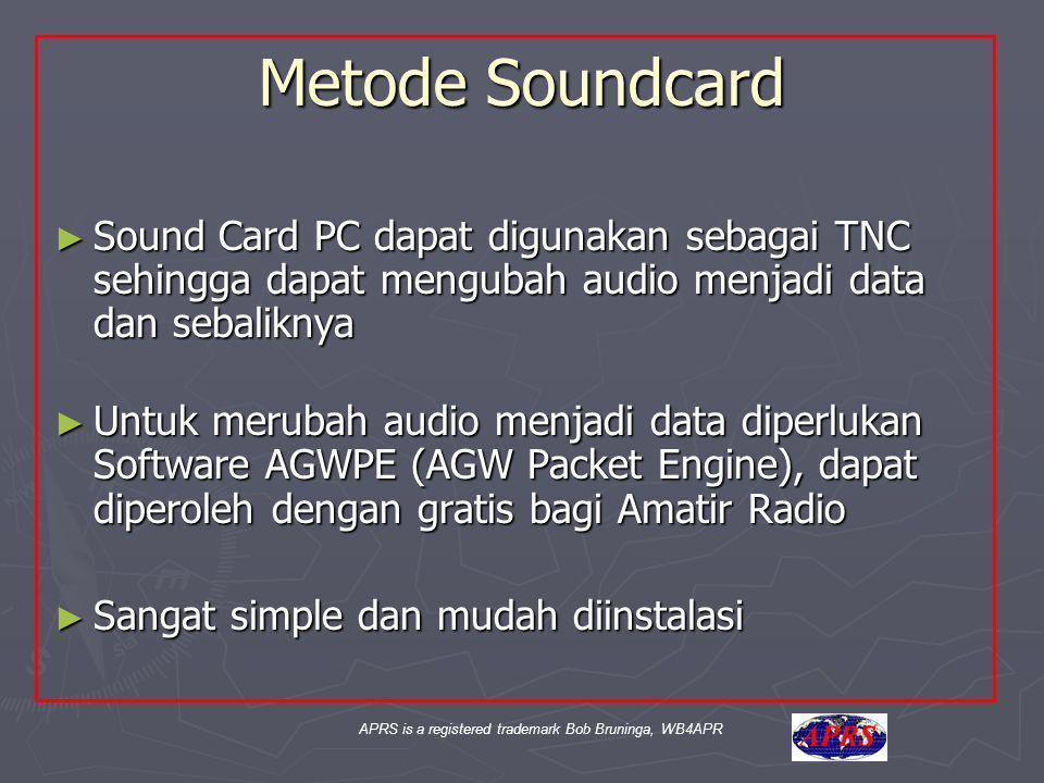 APRS is a registered trademark Bob Bruninga, WB4APR Metode Soundcard ► Sound Card PC dapat digunakan sebagai TNC sehingga dapat mengubah audio menjadi