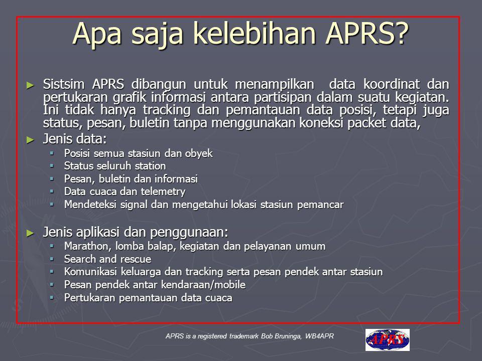 APRS is a registered trademark Bob Bruninga, WB4APR Apa saja kelebihan APRS? ► Sistsim APRS dibangun untuk menampilkan data koordinat dan pertukaran g