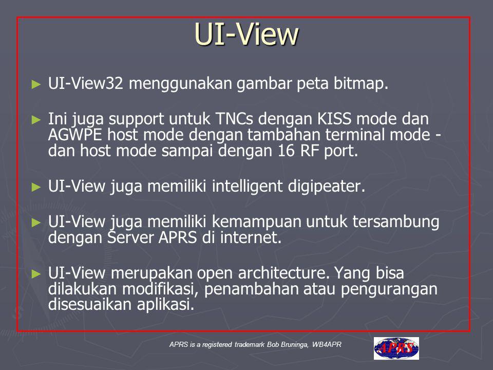 APRS is a registered trademark Bob Bruninga, WB4APR UI-View ► ► UI-View32 menggunakan gambar peta bitmap. ► ► Ini juga support untuk TNCs dengan KISS
