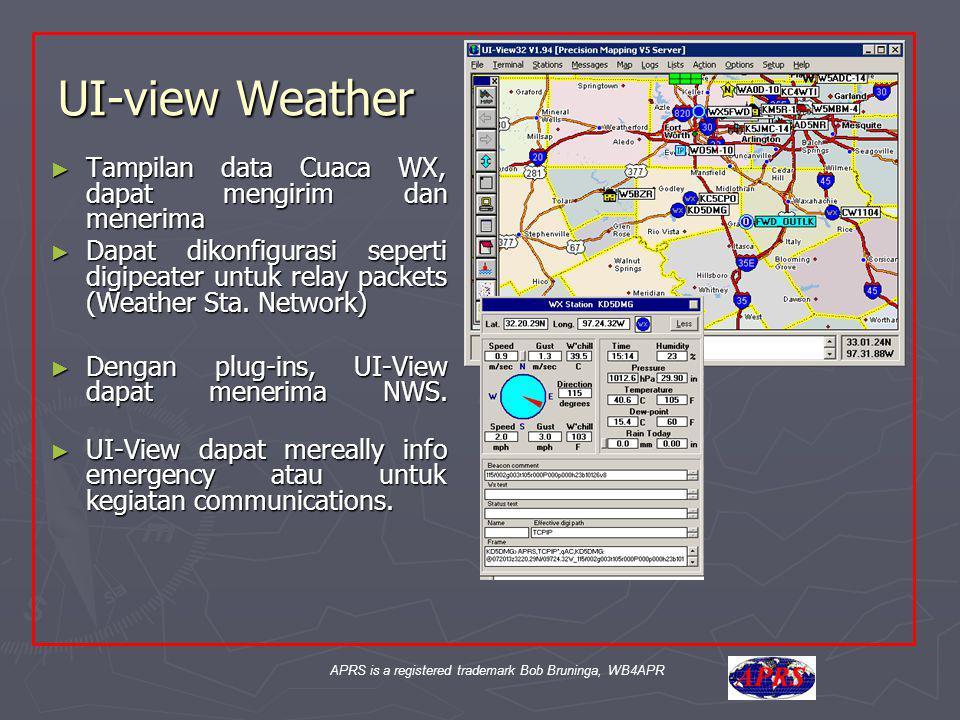 UI-view Weather ► Tampilan data Cuaca WX, dapat mengirim dan menerima ► Dapat dikonfigurasi seperti digipeater untuk relay packets (Weather Sta. Netwo