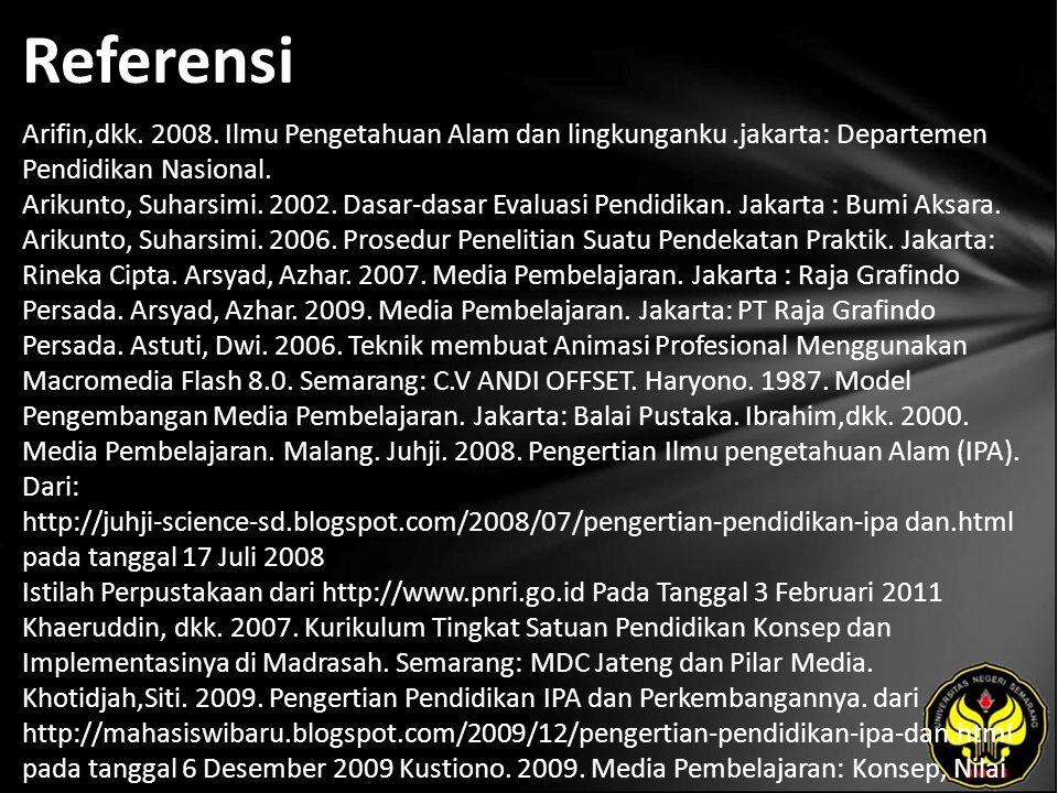 Referensi Arifin,dkk. 2008. Ilmu Pengetahuan Alam dan lingkunganku.jakarta: Departemen Pendidikan Nasional. Arikunto, Suharsimi. 2002. Dasar-dasar Eva