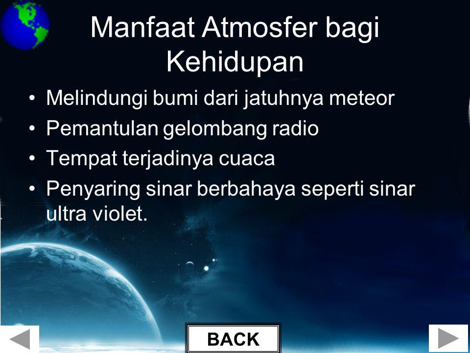 Manfaat Atmosfer bagi Kehidupan •Melindungi bumi dari jatuhnya meteor •Pemantulan gelombang radio •Tempat terjadinya cuaca •Penyaring sinar berbahaya