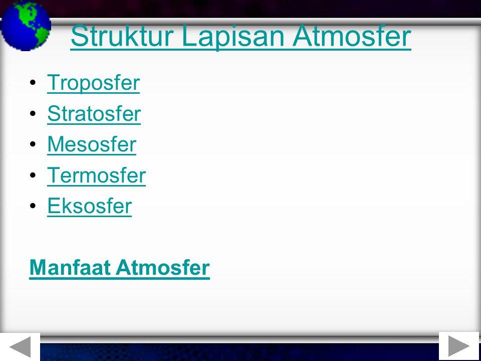 Struktur Lapisan Atmosfer •TroposferTroposfer •StratosferStratosfer •MesosferMesosfer •TermosferTermosfer •EksosferEksosfer Manfaat Atmosfer