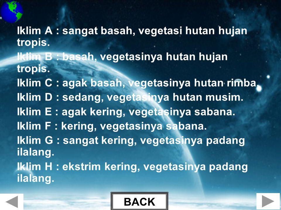 Iklim A : sangat basah, vegetasi hutan hujan tropis. Iklim B : basah, vegetasinya hutan hujan tropis. Iklim C : agak basah, vegetasinya hutan rimba. I