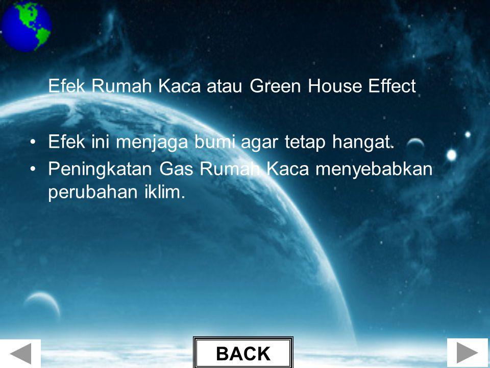 Efek Rumah Kaca atau Green House Effect •Efek ini menjaga bumi agar tetap hangat. •Peningkatan Gas Rumah Kaca menyebabkan perubahan iklim. BACK