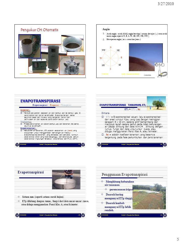 3/27/2010 5 27/03/2010Kuliah V, Pengantar Ilmu Pertanian25 Pengukur CH Otomatis 27/03/2010Kuliah V, Pengantar Ilmu Pertanian26 Angin W 1. 2. NW SW Ara