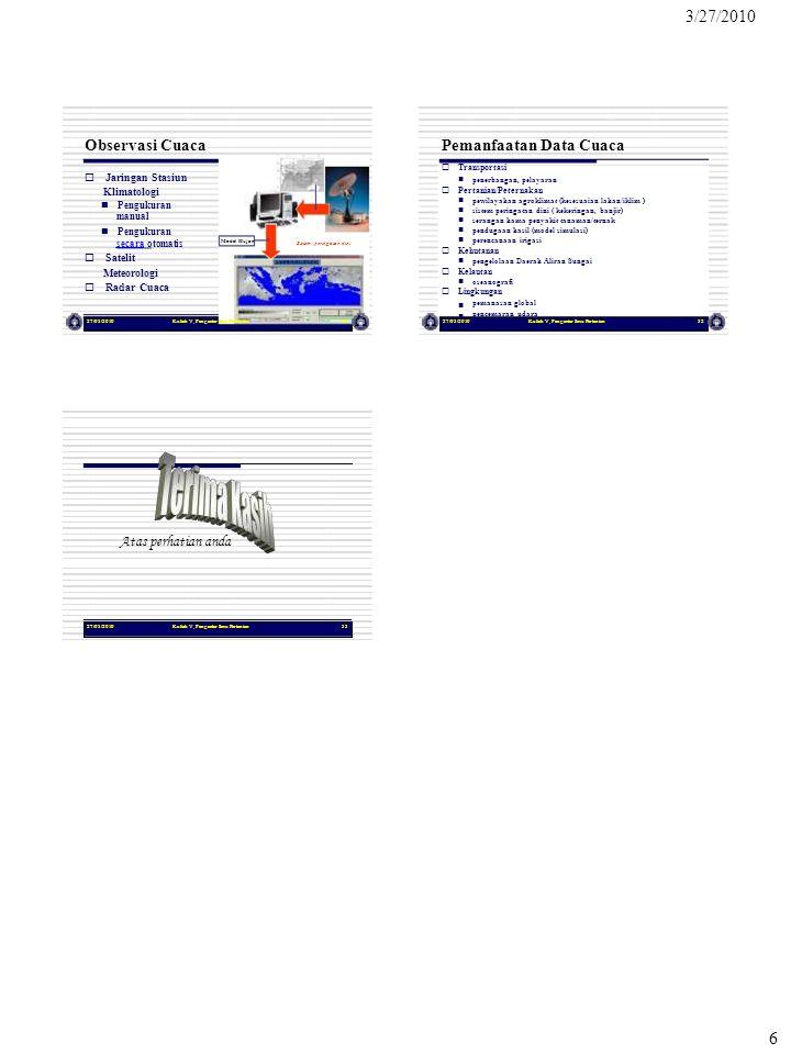 3/27/2010 6 27/03/2010Kuliah V, Pengantar Ilmu Pertanian31 Model Hujan Sistem peringatan dini Observasi Cuaca  Jaringan Stasiun Klimatologi  Pengu