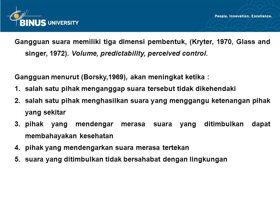 Gangguan suara memiliki tiga dimensi pembentuk, (Kryter, 1970, Glass and singer, 1972).