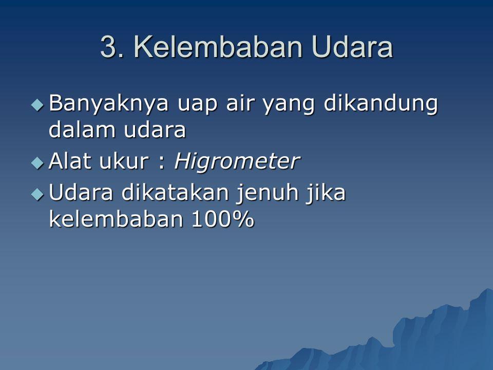 3. Kelembaban Udara BBBBanyaknya uap air yang dikandung dalam udara AAAAlat ukur : Higrometer UUUUdara dikatakan jenuh jika kelembaban 100