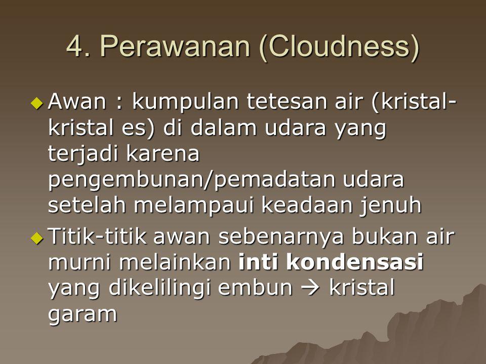 4. Perawanan (Cloudness) AAAAwan : kumpulan tetesan air (kristal- kristal es) di dalam udara yang terjadi karena pengembunan/pemadatan udara setel