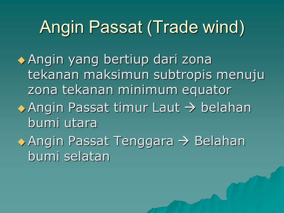 Angin Passat (Trade wind)  Angin yang bertiup dari zona tekanan maksimun subtropis menuju zona tekanan minimum equator  Angin Passat timur Laut  be