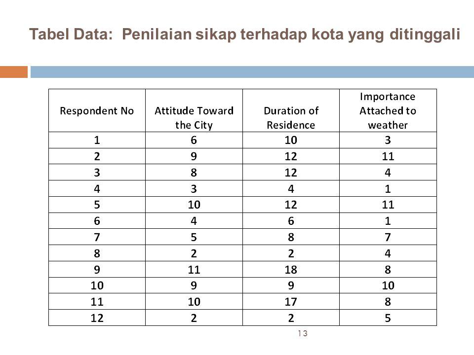 Tabel Data: Penilaian sikap terhadap kota yang ditinggali 13