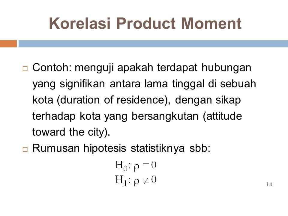 Korelasi Product Moment  Contoh: menguji apakah terdapat hubungan yang signifikan antara lama tinggal di sebuah kota (duration of residence), dengan sikap terhadap kota yang bersangkutan (attitude toward the city).