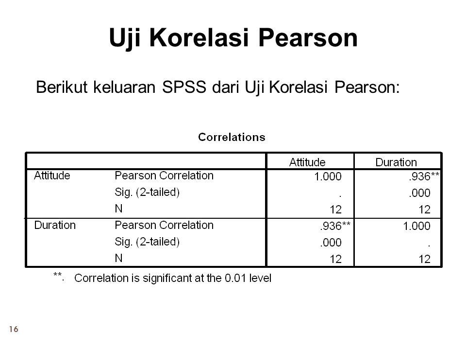 16 Uji Korelasi Pearson Berikut keluaran SPSS dari Uji Korelasi Pearson: