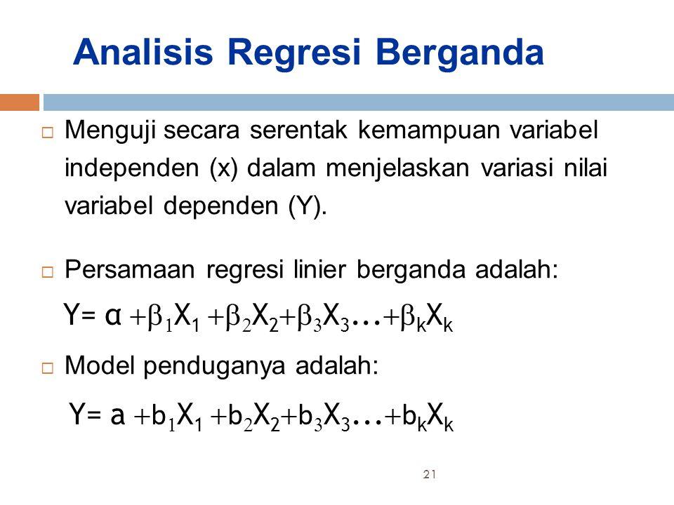 Analisis Regresi Berganda  Menguji secara serentak kemampuan variabel independen (x) dalam menjelaskan variasi nilai variabel dependen (Y).