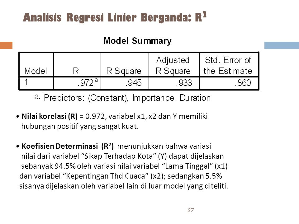 Analisis Regresi Linier Berganda: R 2 27 • Nilai korelasi (R) = 0.972, variabel x1, x2 dan Y memiliki hubungan positif yang sangat kuat.