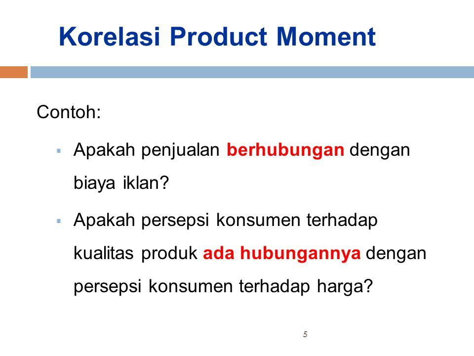 Korelasi Product Moment Contoh:  Apakah penjualan berhubungan dengan biaya iklan.