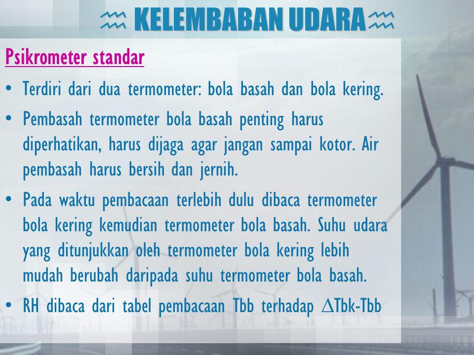 Psikrometer standar •Terdiri dari dua termometer: bola basah dan bola kering. •Pembasah termometer bola basah penting harus diperhatikan, harus dijaga