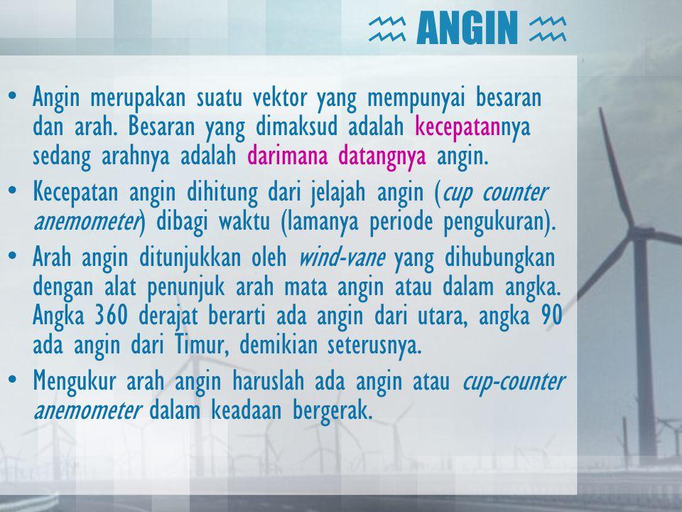  ANGIN  •Angin merupakan suatu vektor yang mempunyai besaran dan arah. Besaran yang dimaksud adalah kecepatannya sedang arahnya adalah darimana data