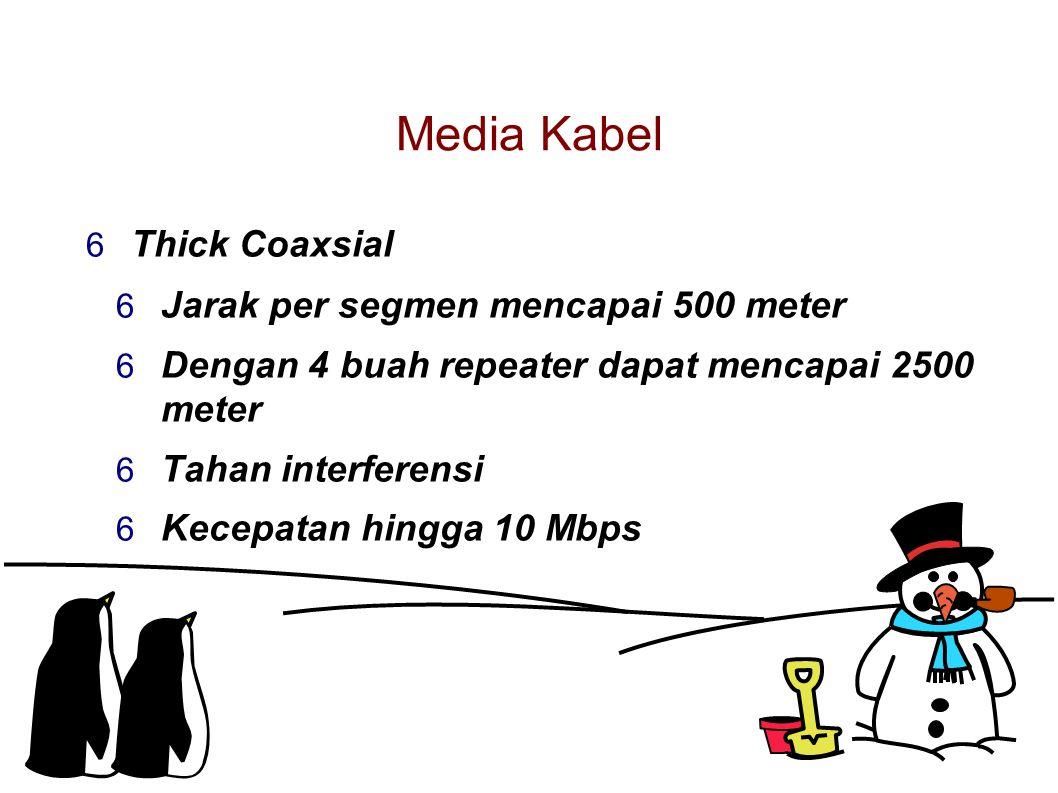 Media Kabel  Thick Coaxsial  Jarak per segmen mencapai 500 meter  Dengan 4 buah repeater dapat mencapai 2500 meter  Tahan interferensi  Kecepatan hingga 10 Mbps