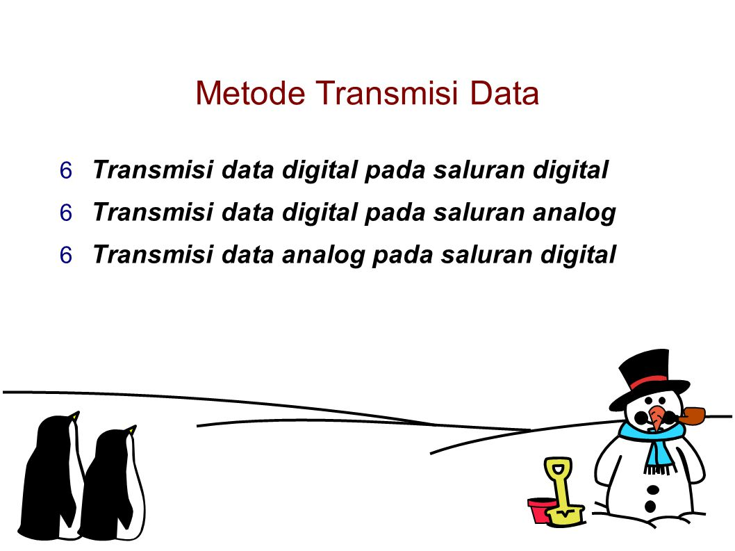 Metode Transmisi Data  Transmisi data digital pada saluran digital  Transmisi data digital pada saluran analog  Transmisi data analog pada saluran digital
