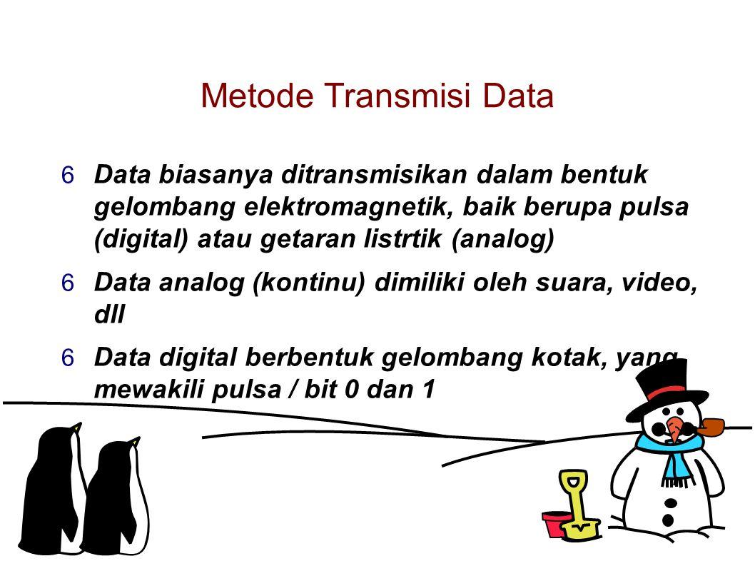 Metode Transmisi Data  Data biasanya ditransmisikan dalam bentuk gelombang elektromagnetik, baik berupa pulsa (digital) atau getaran listrtik (analog)  Data analog (kontinu) dimiliki oleh suara, video, dll  Data digital berbentuk gelombang kotak, yang mewakili pulsa / bit 0 dan 1