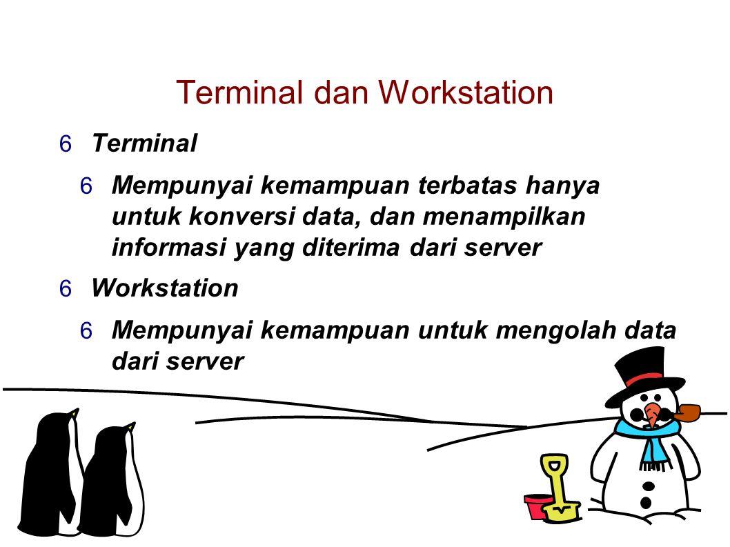 Terminal dan Workstation  Terminal  Mempunyai kemampuan terbatas hanya untuk konversi data, dan menampilkan informasi yang diterima dari server  Workstation  Mempunyai kemampuan untuk mengolah data dari server