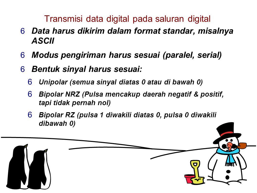 Transmisi data digital pada saluran digital  Data harus dikirim dalam format standar, misalnya ASCII  Modus pengiriman harus sesuai (paralel, serial)  Bentuk sinyal harus sesuai:  Unipolar (semua sinyal diatas 0 atau di bawah 0)  Bipolar NRZ (Pulsa mencakup daerah negatif & positif, tapi tidak pernah nol)  Bipolar RZ (pulsa 1 diwakili diatas 0, pulsa 0 diwakili dibawah 0)