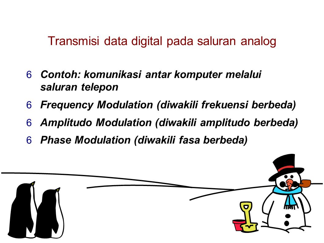 Transmisi data digital pada saluran analog  Contoh: komunikasi antar komputer melalui saluran telepon  Frequency Modulation (diwakili frekuensi berbeda)  Amplitudo Modulation (diwakili amplitudo berbeda)  Phase Modulation (diwakili fasa berbeda)