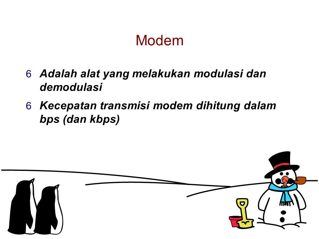 Modem  Adalah alat yang melakukan modulasi dan demodulasi  Kecepatan transmisi modem dihitung dalam bps (dan kbps)