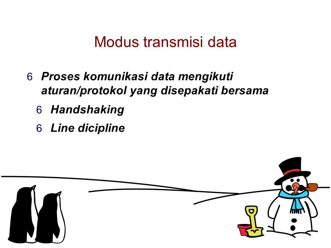 Modus transmisi data  Proses komunikasi data mengikuti aturan/protokol yang disepakati bersama  Handshaking  Line dicipline