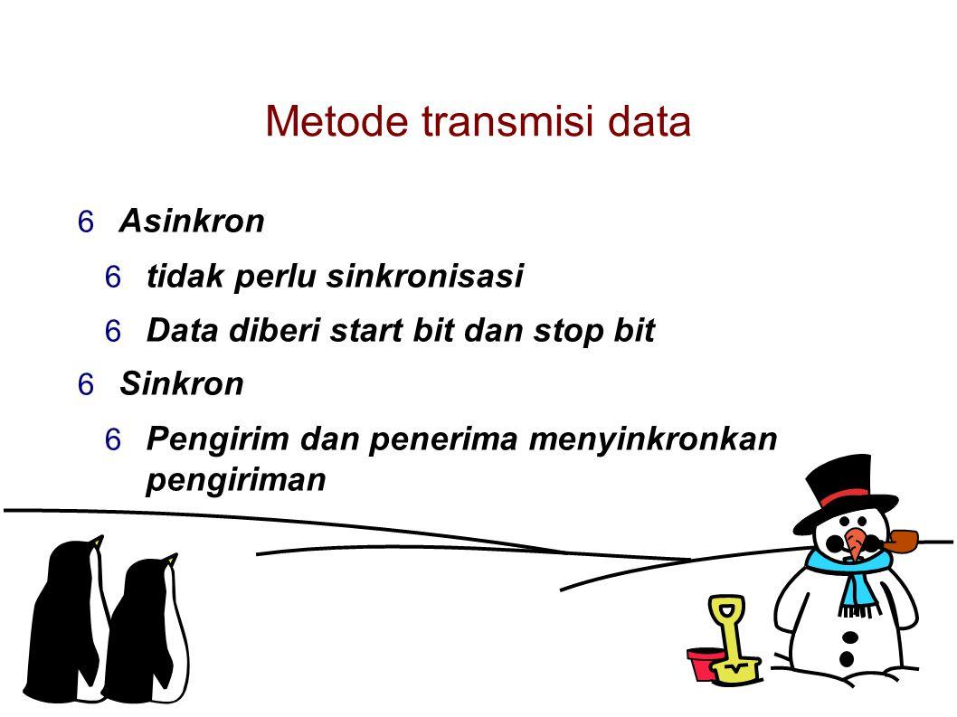 Metode transmisi data  Asinkron  tidak perlu sinkronisasi  Data diberi start bit dan stop bit  Sinkron  Pengirim dan penerima menyinkronkan pengiriman