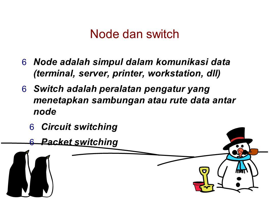 Node dan switch  Node adalah simpul dalam komunikasi data (terminal, server, printer, workstation, dll)  Switch adalah peralatan pengatur yang menetapkan sambungan atau rute data antar node  Circuit switching  Packet switching