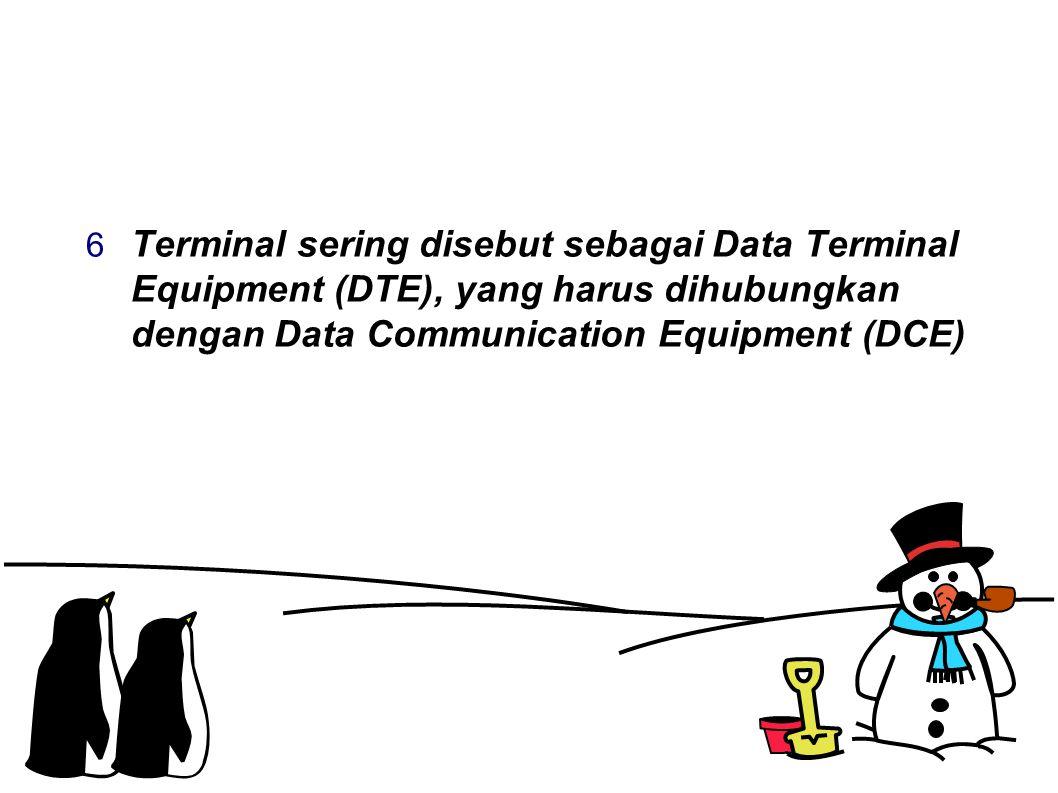  Terminal sering disebut sebagai Data Terminal Equipment (DTE), yang harus dihubungkan dengan Data Communication Equipment (DCE)