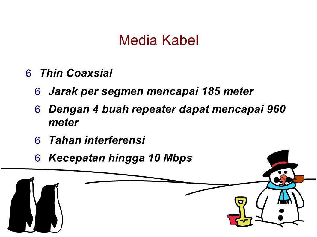 Media Kabel  Thin Coaxsial  Jarak per segmen mencapai 185 meter  Dengan 4 buah repeater dapat mencapai 960 meter  Tahan interferensi  Kecepatan hingga 10 Mbps