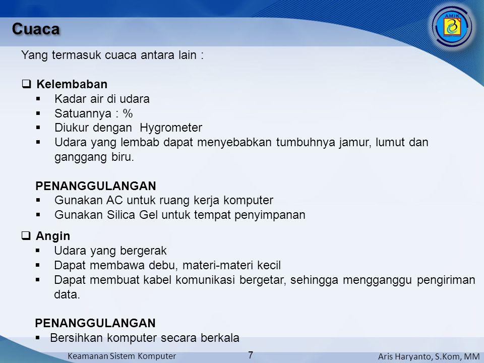 Aris Haryanto, S.Kom, MM Keamanan Sistem Komputer 7 Cuaca Yang termasuk cuaca antara lain :  Kelembaban  Kadar air di udara  Satuannya : %  Diukur