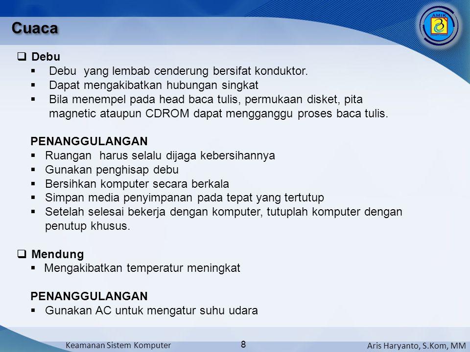 Aris Haryanto, S.Kom, MM Keamanan Sistem Komputer 8 Cuaca  Debu  Debu yang lembab cenderung bersifat konduktor.  Dapat mengakibatkan hubungan singk