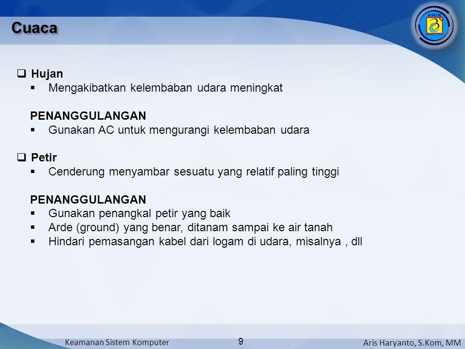 Aris Haryanto, S.Kom, MM Keamanan Sistem Komputer 9 Cuaca  Hujan  Mengakibatkan kelembaban udara meningkat PENANGGULANGAN  Gunakan AC untuk mengura