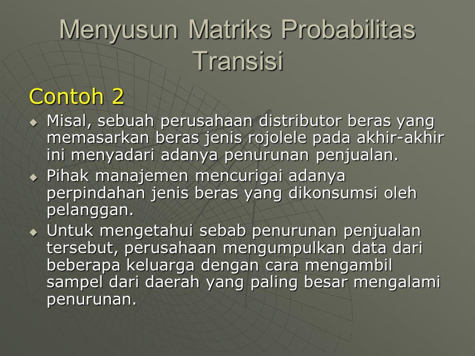 Menyusun Matriks Probabilitas Transisi Contoh 2  Misal, sebuah perusahaan distributor beras yang memasarkan beras jenis rojolele pada akhir-akhir ini