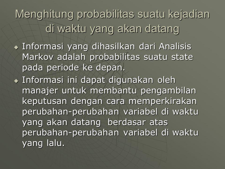 Menghitung probabilitas suatu kejadian di waktu yang akan datang  Informasi yang dihasilkan dari Analisis Markov adalah probabilitas suatu state pada