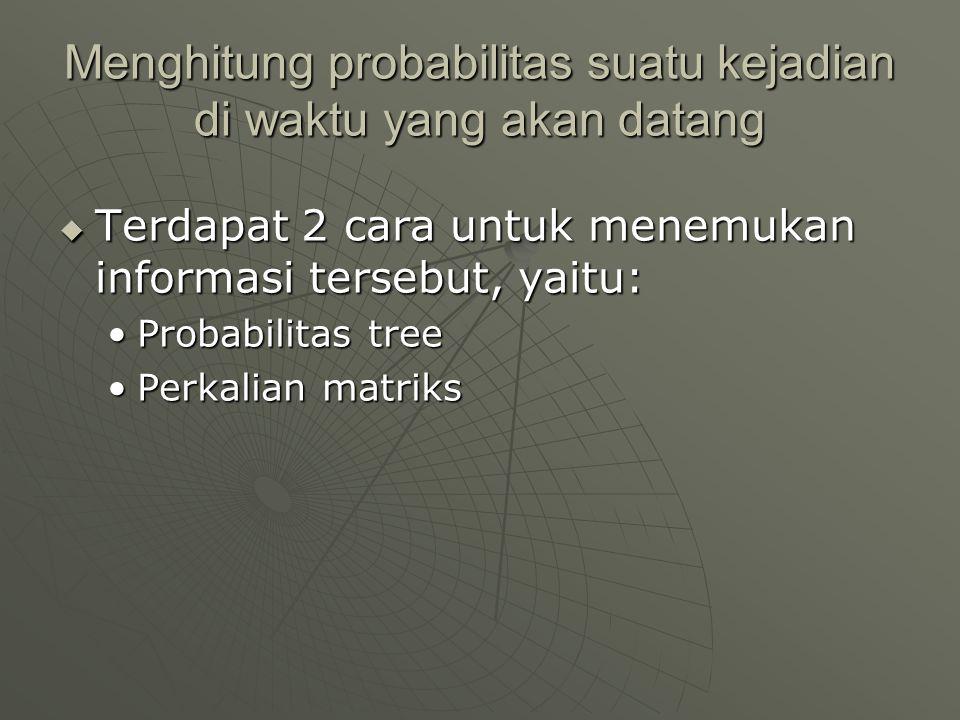 Menghitung probabilitas suatu kejadian di waktu yang akan datang  Terdapat 2 cara untuk menemukan informasi tersebut, yaitu: •Probabilitas tree •Perk