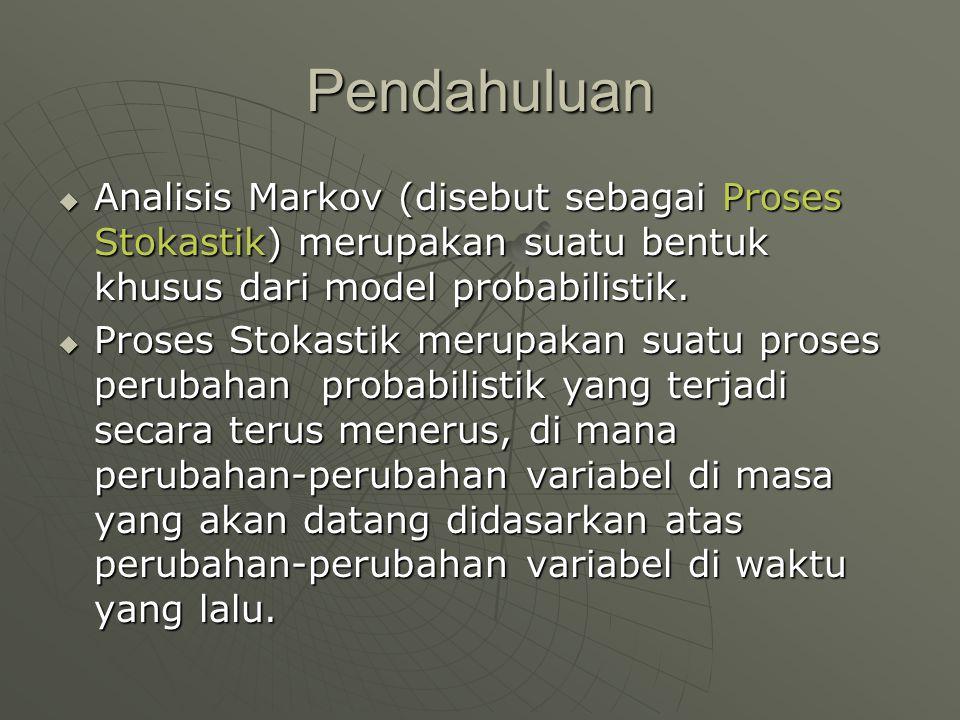 Pendahuluan  Analisis Markov (disebut sebagai Proses Stokastik) merupakan suatu bentuk khusus dari model probabilistik.  Proses Stokastik merupakan